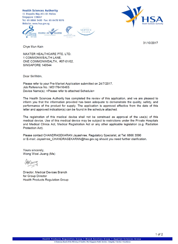 Singapore HSA Daily Aspheric Lens Approval